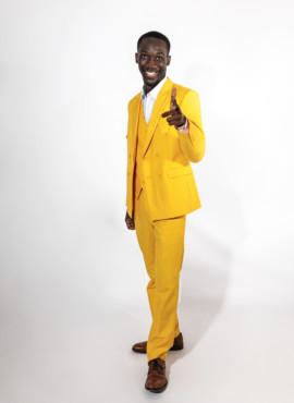 Желтый мужской костюм тройка