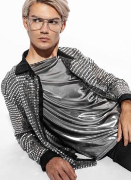 Золотой пиджак в пайетку в стиле Диско 80х