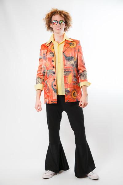 Костюм в стиле Диско 80х с ярким винтажным пиджаком в эффектный принт