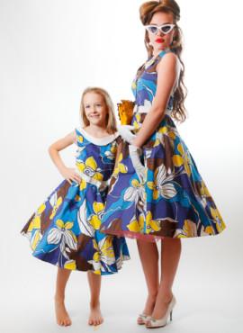 Платье стиляги для мамы и дочки