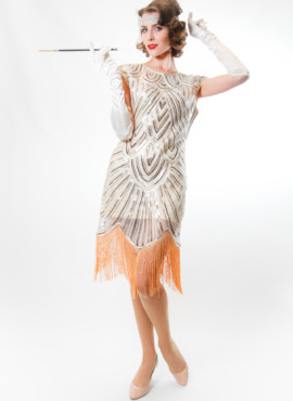 Платье расшитое бисером и серебрянной пайеткой