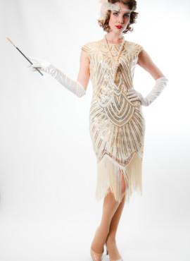 Платье шампань расшитое бисером и золотой пайеткой в стиле 20-30х годов