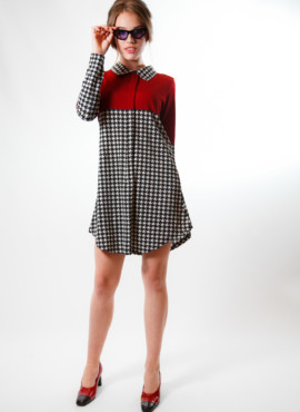 Платье трапеция в стиле 70х годов бордовое