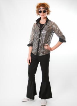 Костюм Диско 80х с серебристой блестящей рубашкой и черными штанами клеш