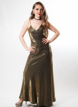 Костюм в стиле 80х-90х — Выпускница в золотом платье в пол