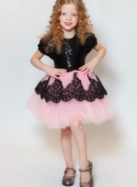 Нарядное черно розовое платье