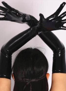 Перчатки женские черные латексные длинные