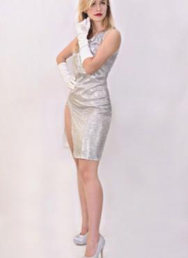 Бдестящее серебрянное платье