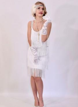 Платье белое с  длинной бахрамой в стиле 20х-30х