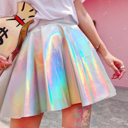 Голографическая плиссированная юбка из искусственной кожи