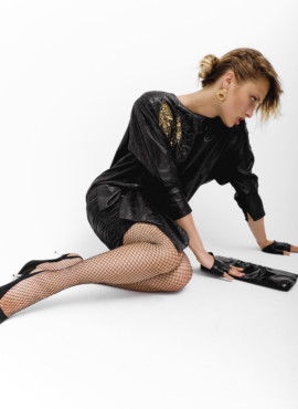 Костюм в стиле 90х — Черное платье летучая мышь, для модниц из 90-х